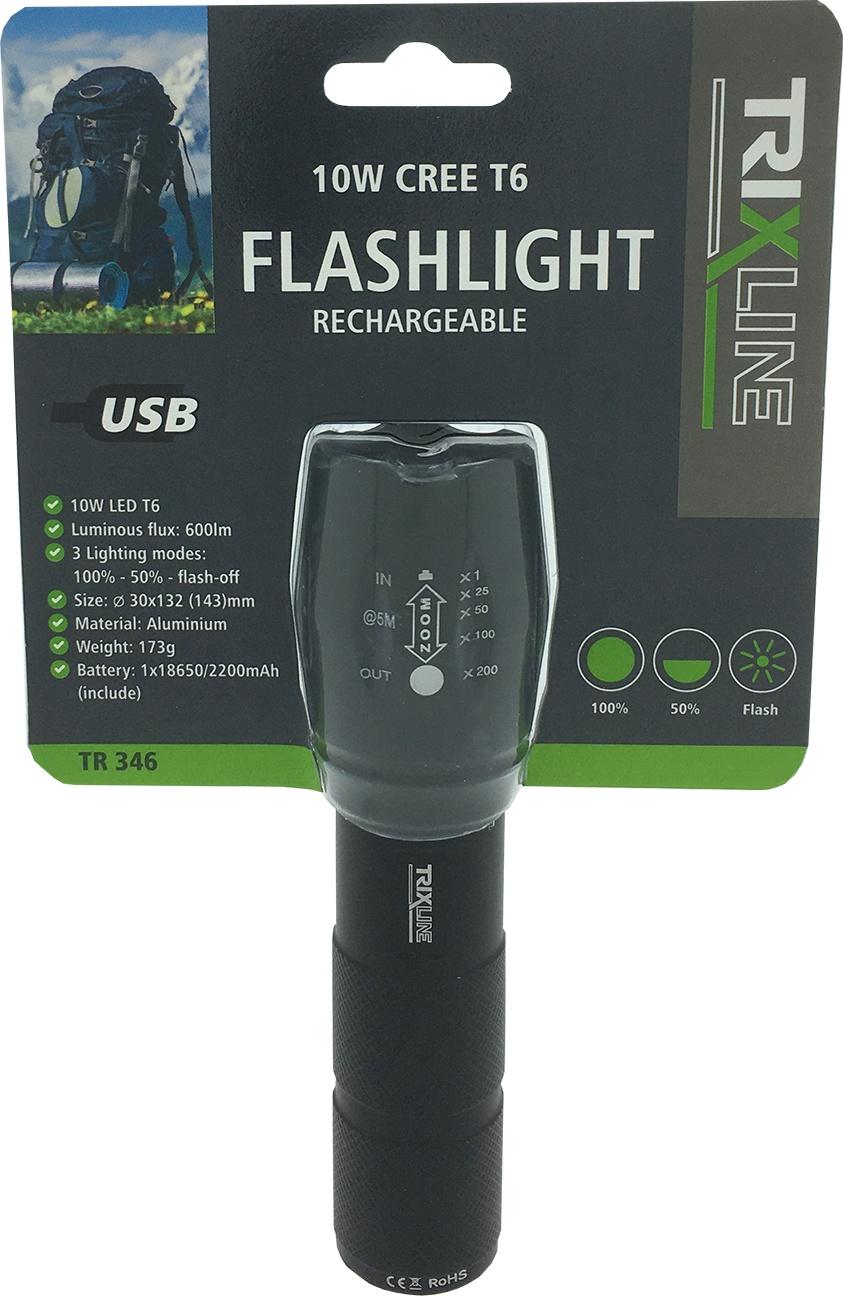 LED ruční nabíjecí USB svítilna