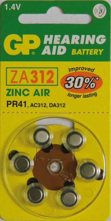 Fotografie GP Batteries Baterie do naslouchadel GP ZA312 6 ks