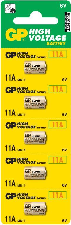 Fotografie Baterie alkalická, GP 11A, 6V, GP, blistr, 5-pack