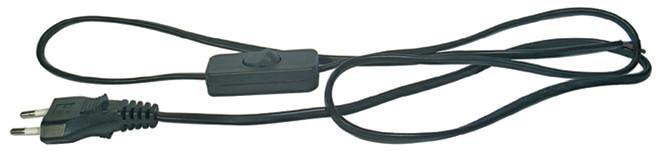 Flexošňůra 2x0,75mm 1,5 m černá s vypínačem