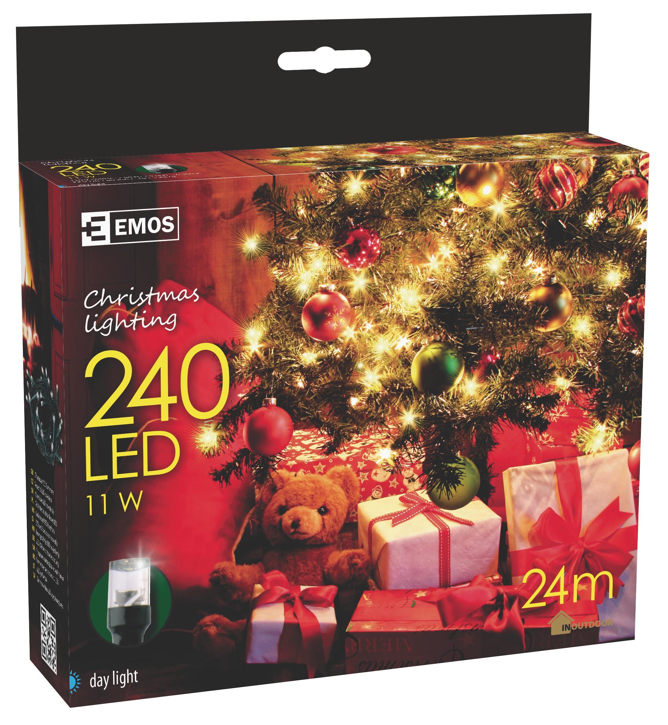 240 LED vánoční osvětlení 24M IP44 denní světlo
