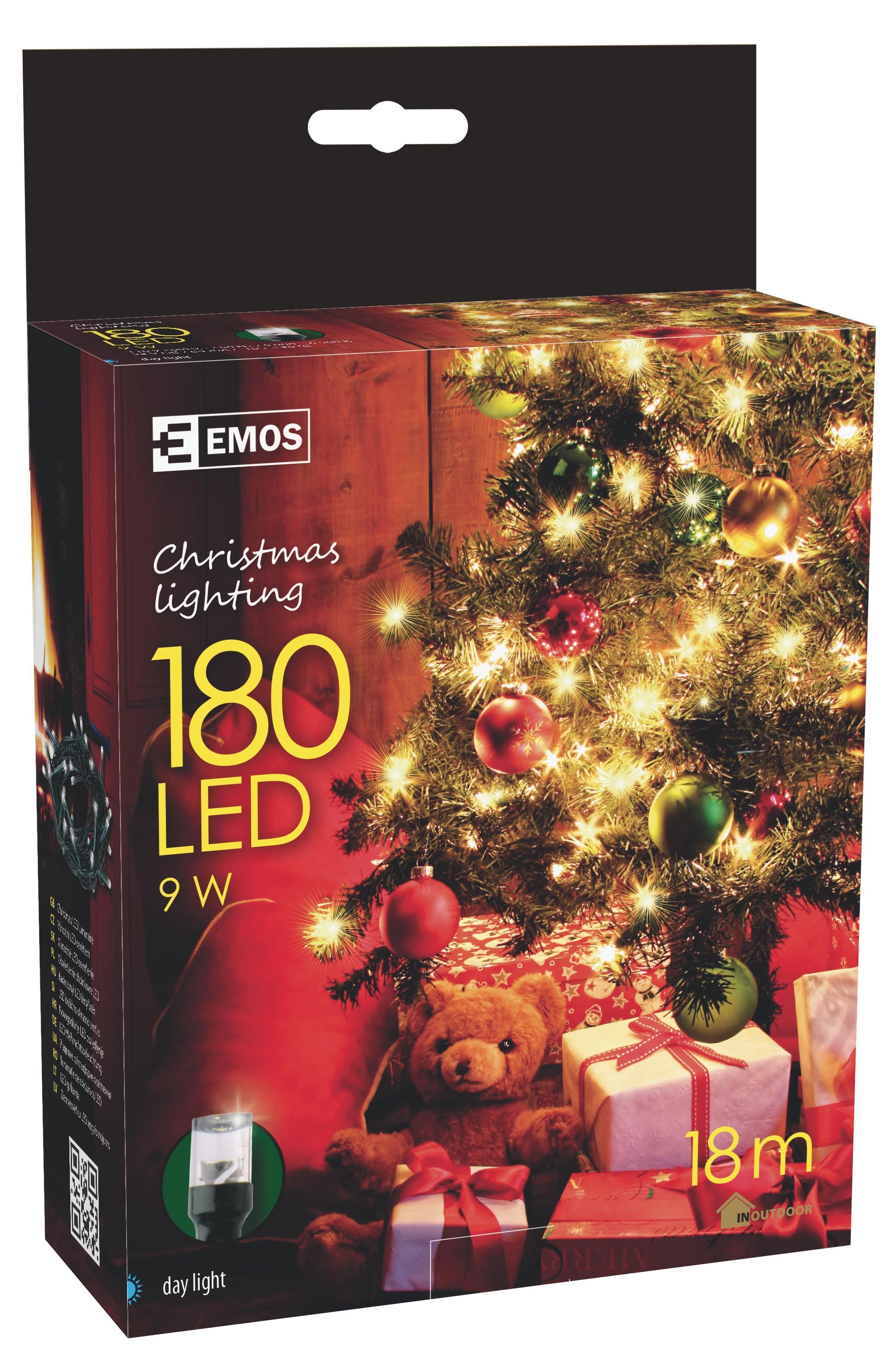 180 LED vánoční osvětlení 18M IP44 denní světlo