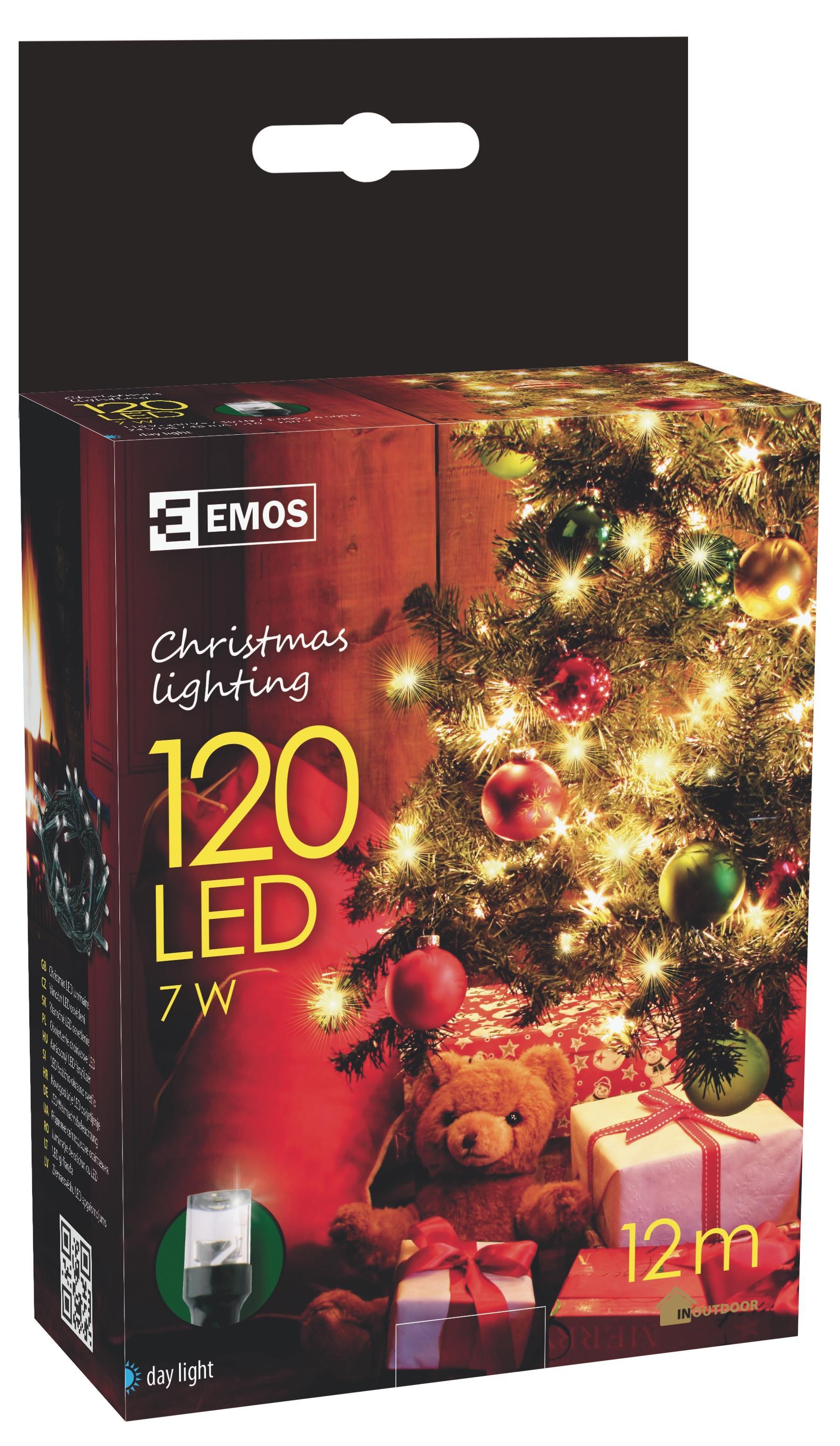 120 LED vánoční osvětlení 12M IP44 denní světlo