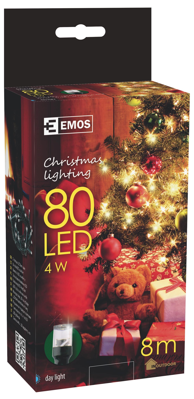 80 LED vánoční osvětlení - řetěz 8M IP44 studená bílá