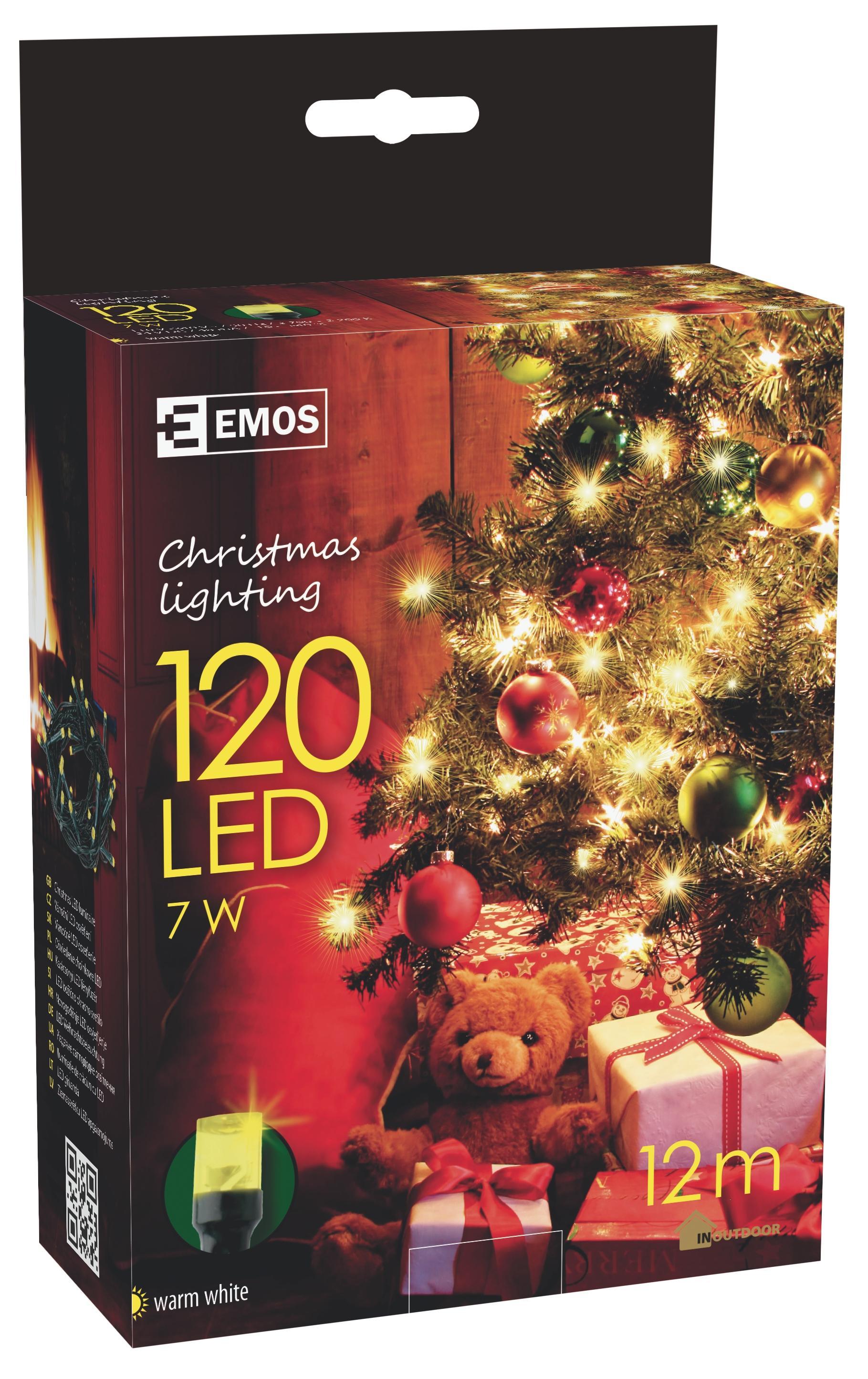 120 LED vánoční osvětlení 12M IP44 teplá bílá