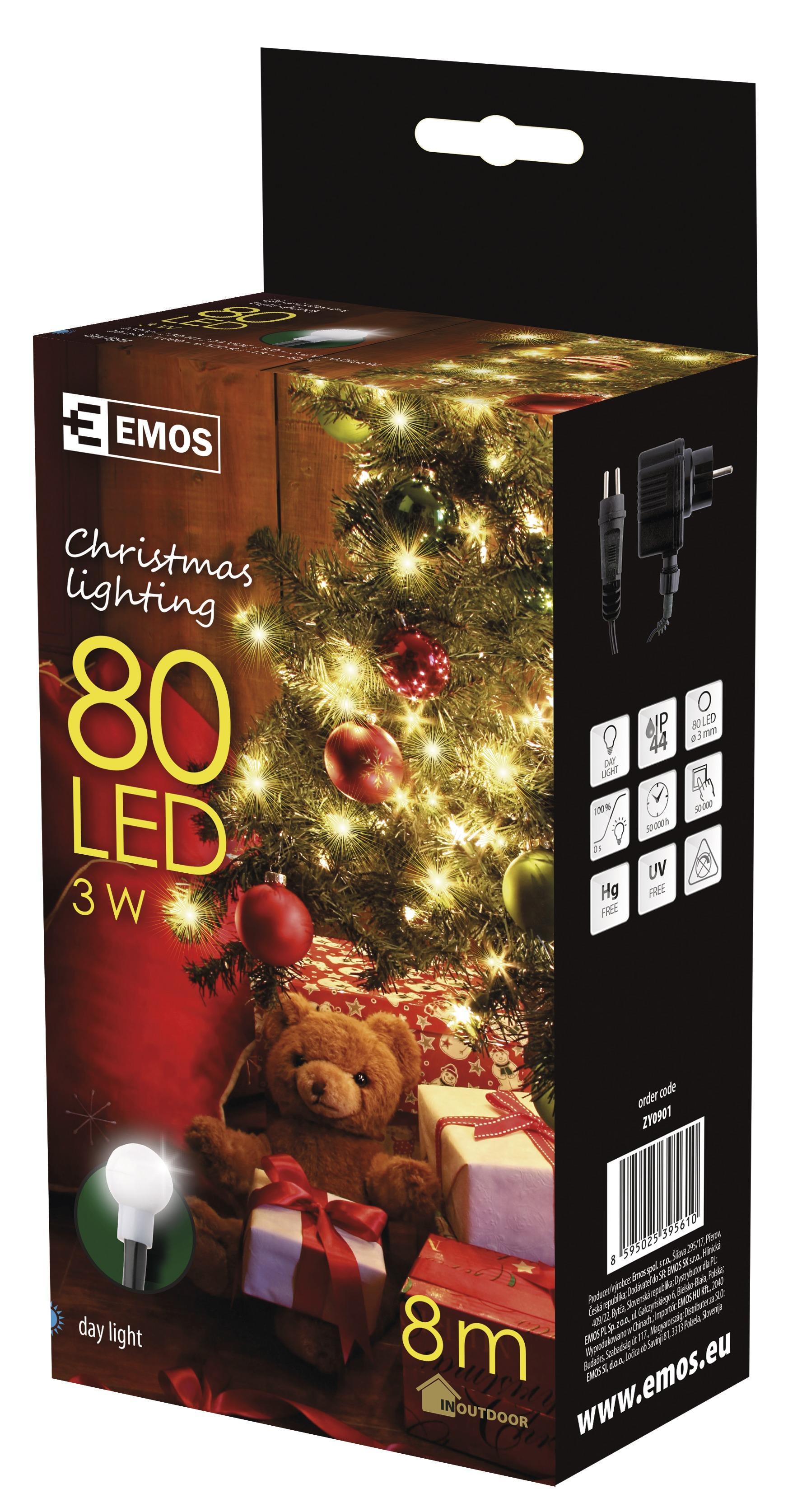 80 LED vánoční osvětlení - cherry 8M IP44 denní světlo
