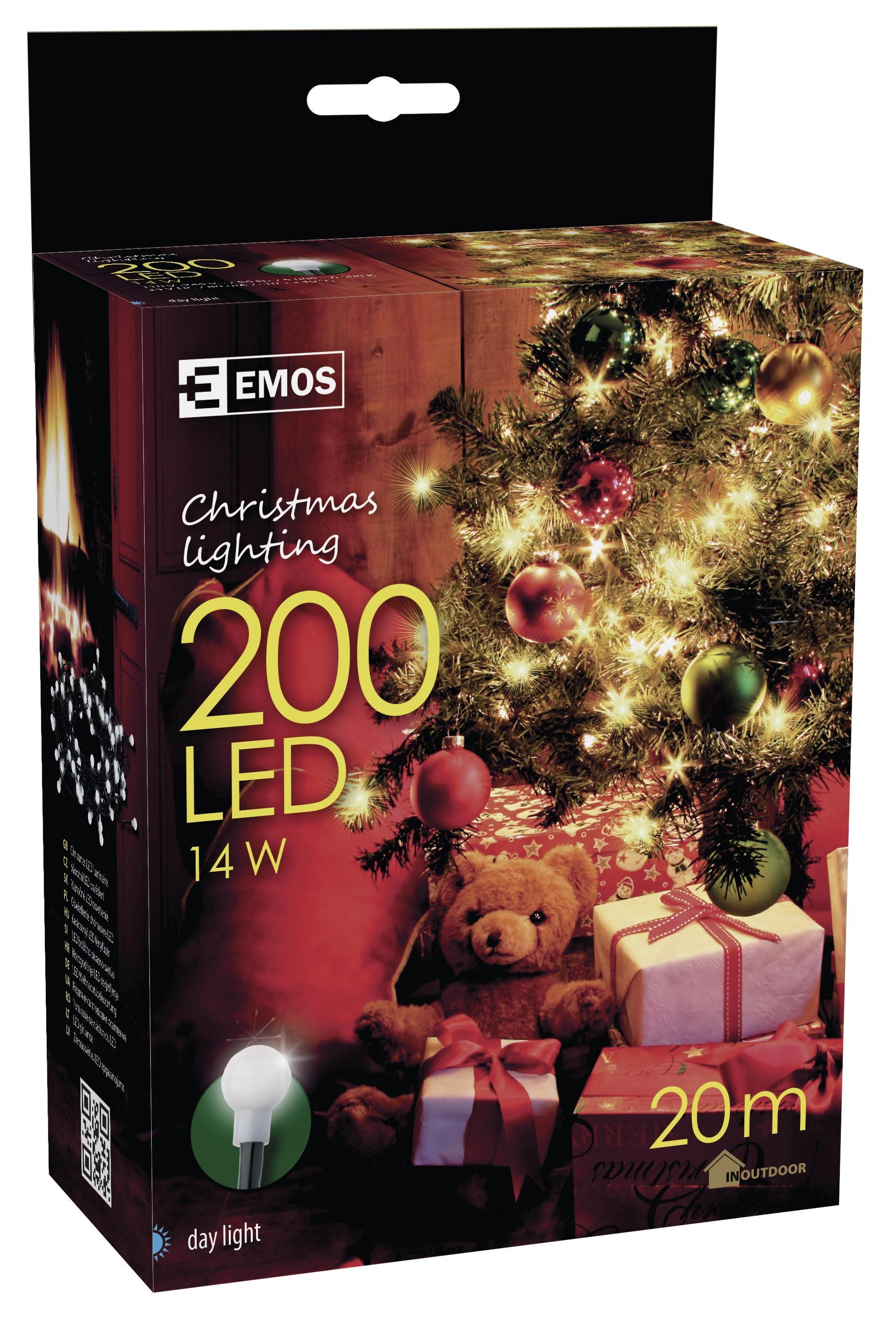 200 LED vánoční osvětlení 20M IP44 denní světlo